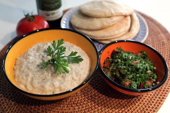 Arabic mezze: Baba Ganoush & Tabbouleh