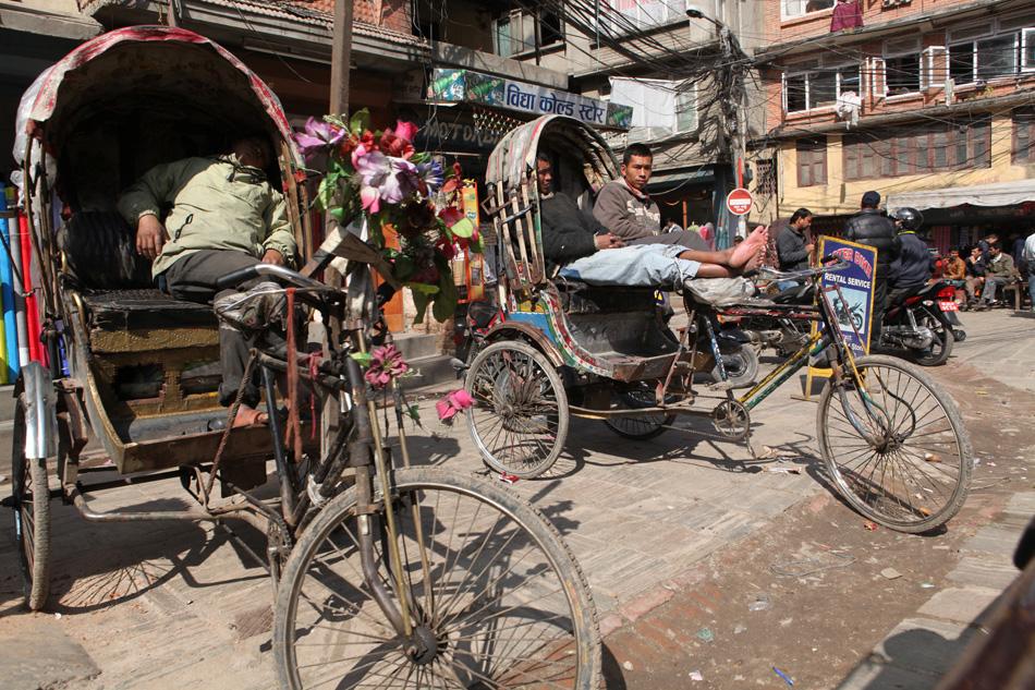 Rickshaws resting in Kathmandu, Nepal