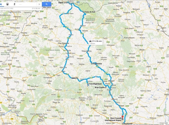Approximate rout of the Romania Road-trip