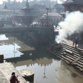 Public body cremation in Kathmandu, Nepal