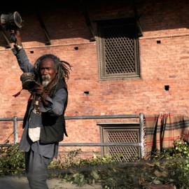 Dancing man. Street-life in Kathmandu, Nepal